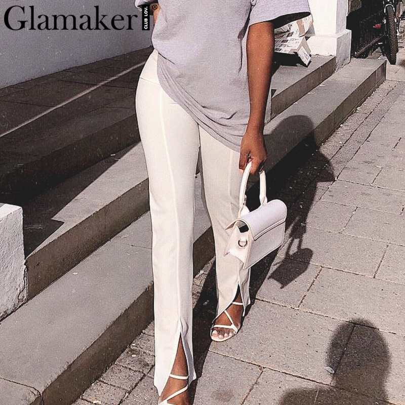 Glamaker High Waist Solid Casual Trousers Women Bodycon Split Pants Female Office Lady Fashion Pants Elegant Patalon Bottoms