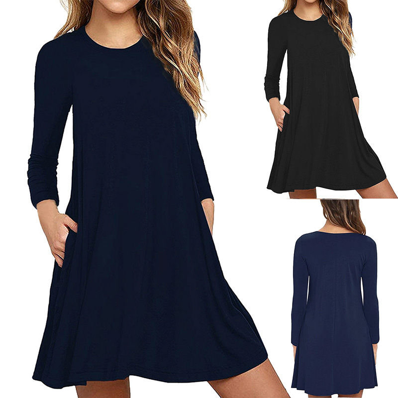 New Pregnant Women Dresses Maternity Pure Double-pocket Long-Sleeved Lady's Autumn Dress Nursing Pregnancy Casual Clothes