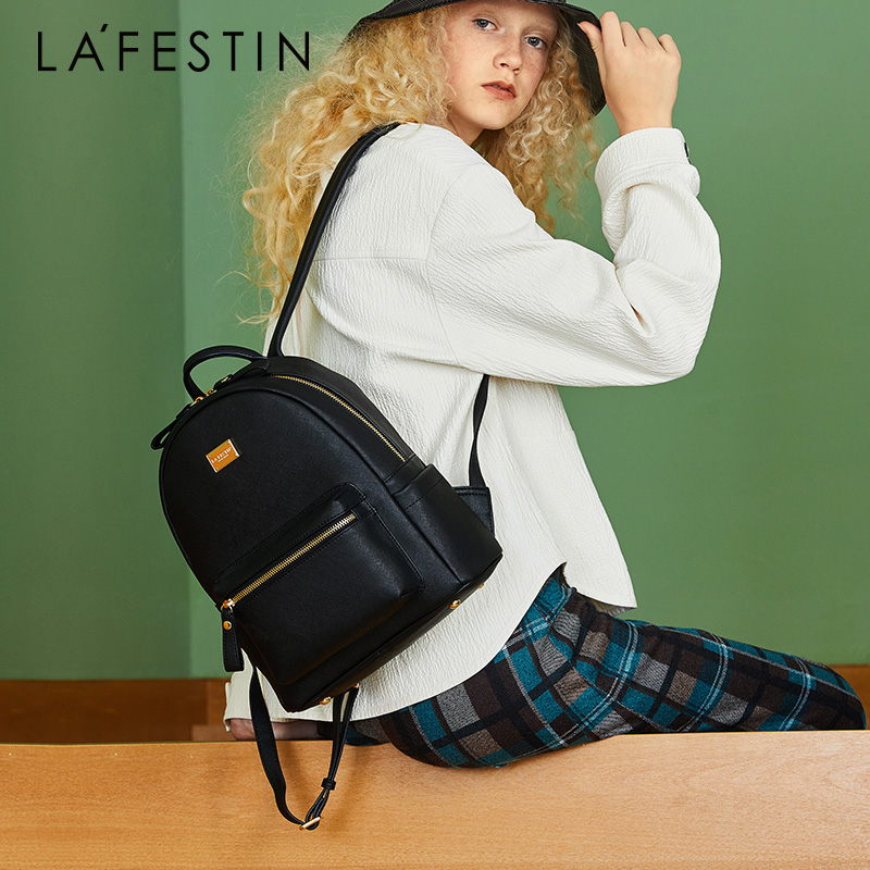 LAFESTIN ผู้หญิงกระเป๋าเป้สะพายหลังหนังแท้กระเป๋าเป้สะพายหลังวัยรุ่นกระเป๋าโรงเรียนหญิงกระเป๋าเป้สะพายหลังคุณภาพสูง Mochilas-ใน กระเป๋าเป้ จาก สัมภาระและกระเป๋า บน   1