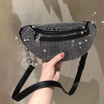 King Running Bag with Chain Flash Crystal Shoulder Chest Pack 2019 New Style Bag Women's