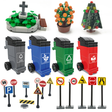 Traffic Sign Entry-Accessories Parking City-Friend-Sets Blocks Compatible Toys Education