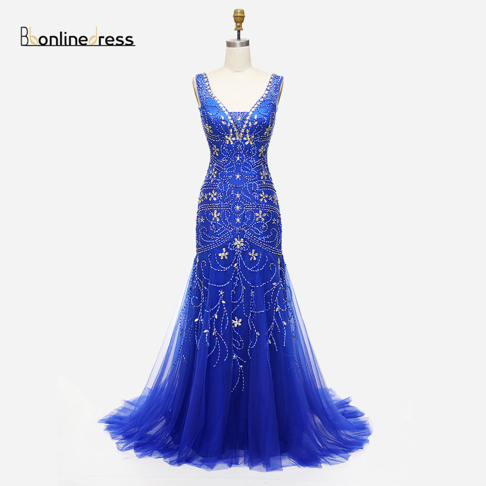 Cheap Elegant Mermaid Evening Dress Crystal Beaded V-Neck Champagne Champagne Evening Dresses Free Shipping Party Gowns Formal