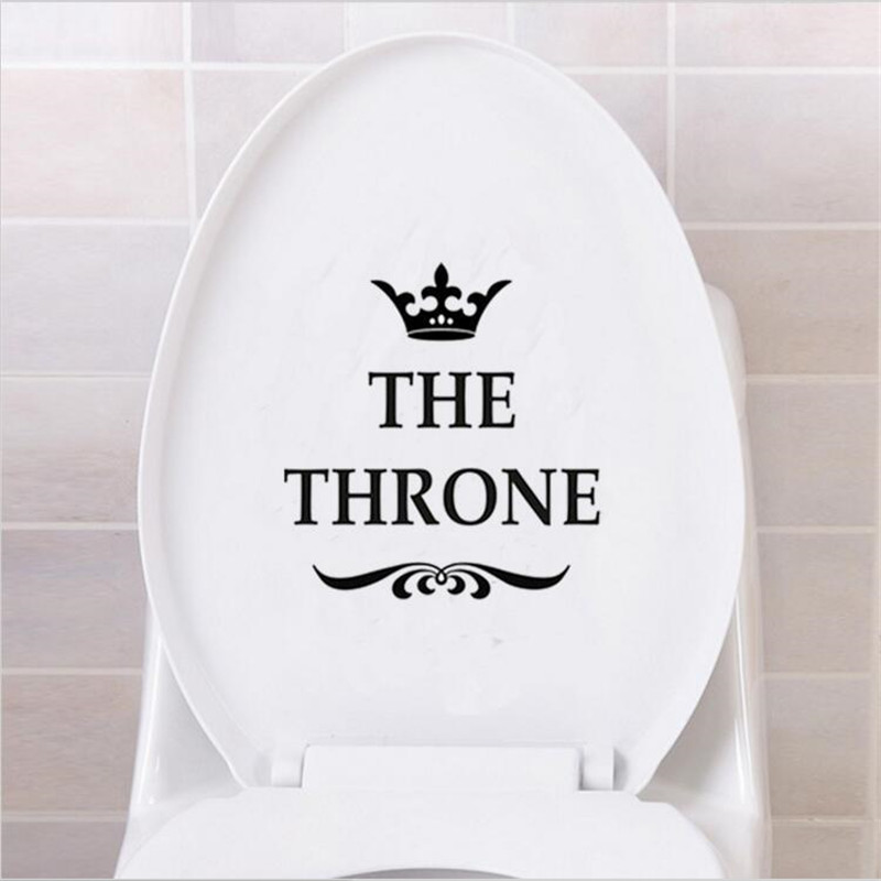 Funny THE THRONE Toilet Seat Sofa Chair Wall Stickers Bathroom Home Decoration Decals for Bedroom Kitchen Living Room Walls