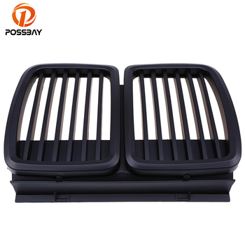 POSSBAY Car Front Hood Grille Grill Vents for BMW 3-Series E30 316i/318i/320i Coupe 1982-1991 Matte Black Front Center Grilles image