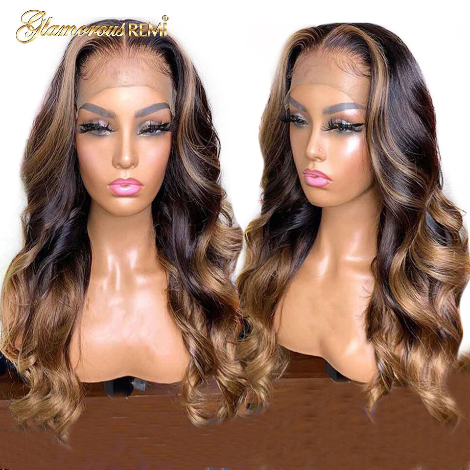 Brazilian Remy Hair Lace Front Human Hair Wig 13*6 Deep Part Body Wavy Ombre Blonde Highlights Color 150% Density Pre Plucked