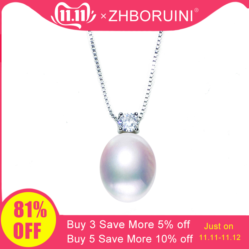 ZHBORUINI 2019 New Necklace Pearl Jewelry Natural Freshwater Pearls Zircon Pendants 925 Sterling Silver Jewelry For Women Gift