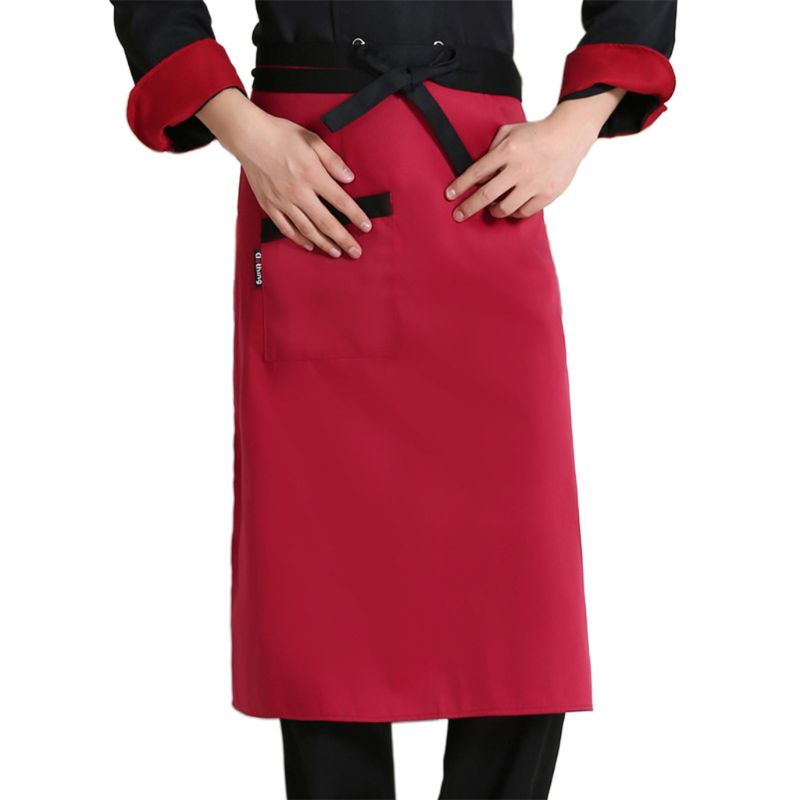 Unisex Chef Works Half Apron With Ties Front Pocket Restaurant Cooking Long Bib 649C