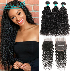 Ali Grace Brazilian Water Wave 3 Hair Bundles With Closure 4x4 Transparent Lace 100% Human Hair Bundles with Closure Middle Part