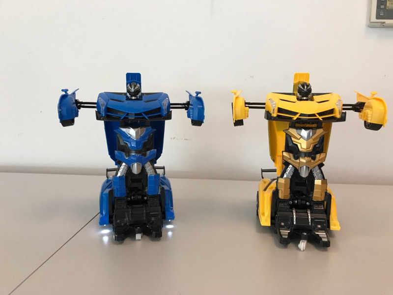 หุ่นยนต์ RC 1/18 Rc Transformer รถ 2 in 1 Transformation หุ่นยนต์รุ่นรีโมทคอนโทรลรถ RC ต่อสู้ของเล่นเด็กของขวัญของเล่นวันเกิด