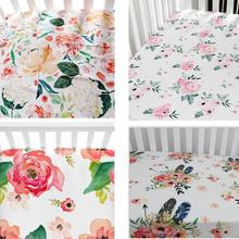 Baby Floral Fitted Crib Sheet Girl's Bed Newborn Sheet Mattresses Cover fits Standard Crib 28*52*9 inches