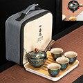 Tragbare Reise Kung Fu Teekanne und Tasse Set filter Kreative keramik Automatische Spinning Tee Set Teegeschirr wasserkocher mit Fach Tasche