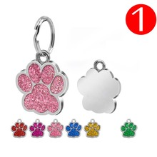 1pc Paw Shape Pendants Pet Dog Accessories Alloy ID Tags Puppy Card Collar Pendant For Cat Supplies 6 Color
