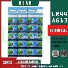 DEAH – lot de 30 piles alcalines 1.55V AG13 LR44, pièces de monnaie, AG 13 LR44W LR1154 SR44 A76 357A 303 357, pour montres et jouets