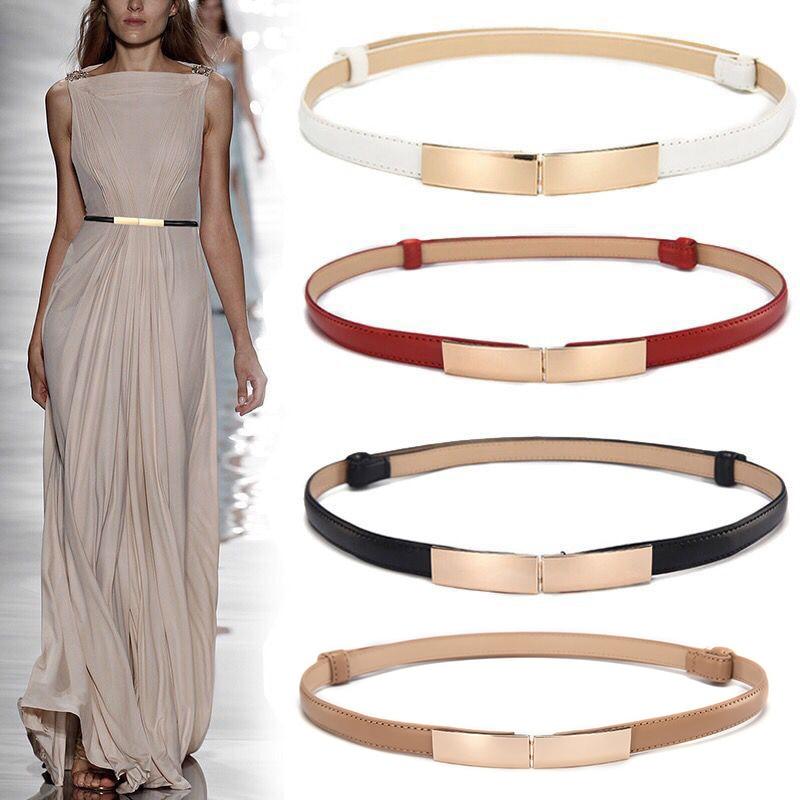 2019 Fashion Women Lady Leather Belt Thin Skinny Metal Gold Elastic Buckle Waistband Belt Dress Clothing Accessories