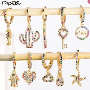 Pipitree 1 PCS CZ Zircon Hoop Earrings Women Heart Hamsa Hand Elephant Crown Evil Eye Small Loop Earrings Hoops Wedding Jewelry 1