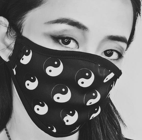 Women's Spring Summer Tai Chi Print Silk Sunscreen Mask Lady's PM 2.5 Breathable Silk Mouth-muffle R2814