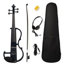 Электрический Скрипка 4/4 Полный Размер Скрипка с чехол Лук наушники канифоль набор черный