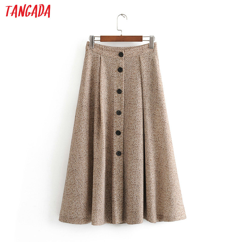 Tangada Women Winter Elegant Skirts Vintage Faldas High Waist Pocket Buttons Office Ladies Long Skirts 3h121