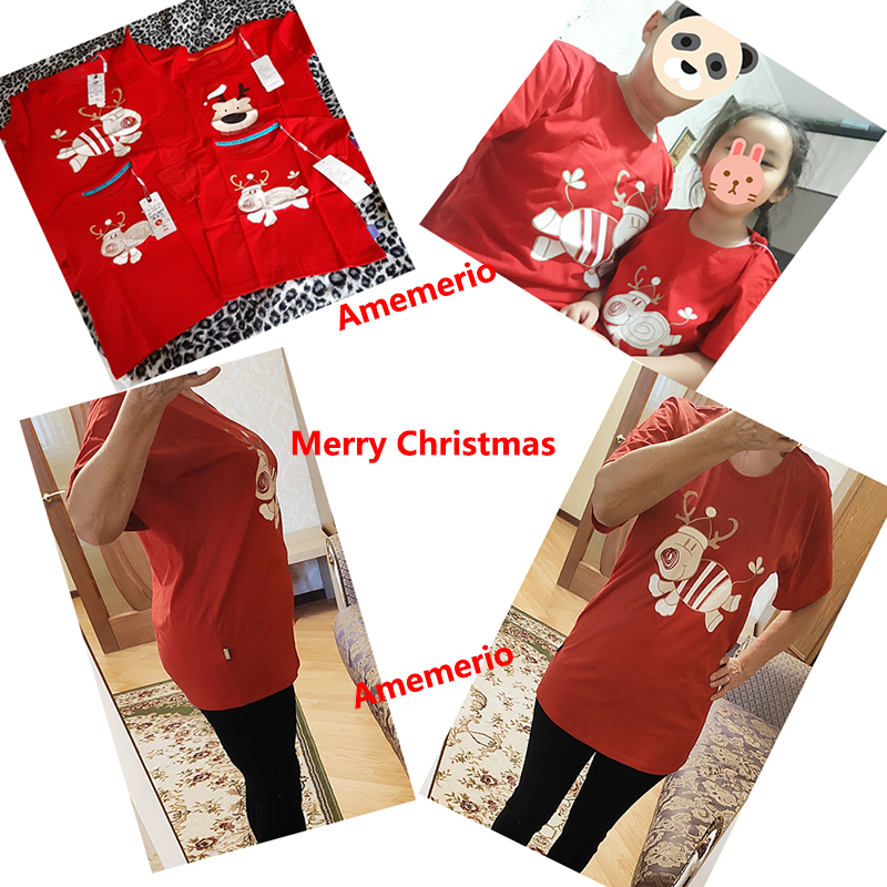 Dad Mom Baby Family Suit Family Look Christmas Family Matching Outfits T Shirt Mother Daughter Short Sleeve Father Son Clothes