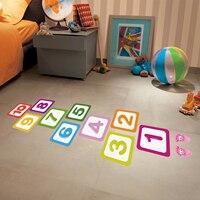 Hopscotch-pegatinas extraíbles para el suelo, pegatinas de pared de dibujos animados impermeables, autoadhesivo, con celosía, juego de números, guardería, habitación de niños