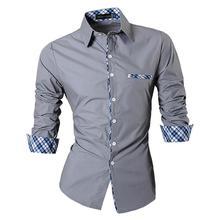 Jeansian Mens Casual Dress Shirts Fashion Desinger Stylish Long Sleeve Slim Fit Z020 Gray