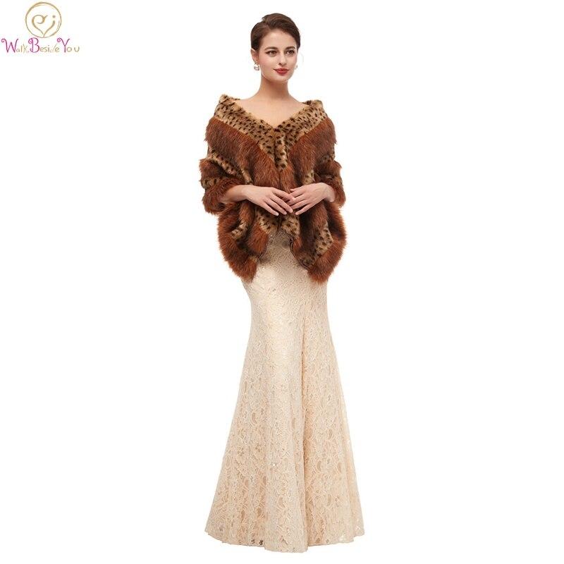 Модная женская леопардовая меховая шаль, новинка 2019, свадебные накидки для официальных платьев, верхняя одежда для свадьбы, накидки для
