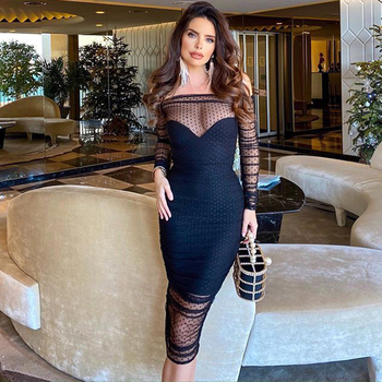 Ocstrade New Fashion Lace Bandage Dress 2020 Women Off Shoulder Sexy Long Sleeve Bodycon Evening Party