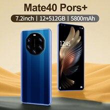 Globale Version Smartphone Mate40 Profis + 7,2 zoll 4G 5G 16MP + 32MP 12GB + 512GB 5800mAh Entsperrt Handys Telefones Celulares