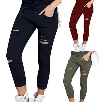 De talla grande algodón Spandex Color sólido Cordón de cintura alta elástico cordón lápiz pantalones rasgados flacos polainas pantalón Mujer