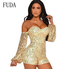 FUDA Sequined Jumpsuit Women Long Sleeve Sparkly Bodycon Bodysuits Sexy Off Shoulder Rompers Glitter Club Party Overalls Macacao