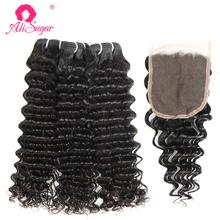 Ali Sugar Virgin Hair peruwiański głęboka fala 3 zestawy z zamknięciem 4*4 koronka 100 nieprzetworzone surowe doczepy z ludzkich włosów tanie tanio Luźne fale = 15 NONE Wszystkie kolory 3 sztuk wątek i 1 pc zamknięcia Peruwiański włosów