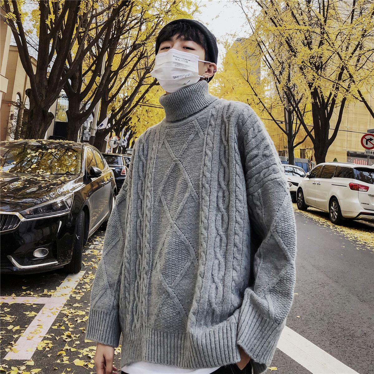 2019 Winter Men's Turtleneck Loose Knitting Embroidered Woolen Pullover Casual Coats In Warm Grey/brown/black Cashmere Sweaters