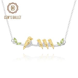 Ожерелье GEM'S BALLET, ожерелье с крыльями для мамы и ребенка, натуральный камень рождения перидот, 925 пробы, серебряное ожерелье с подвеской