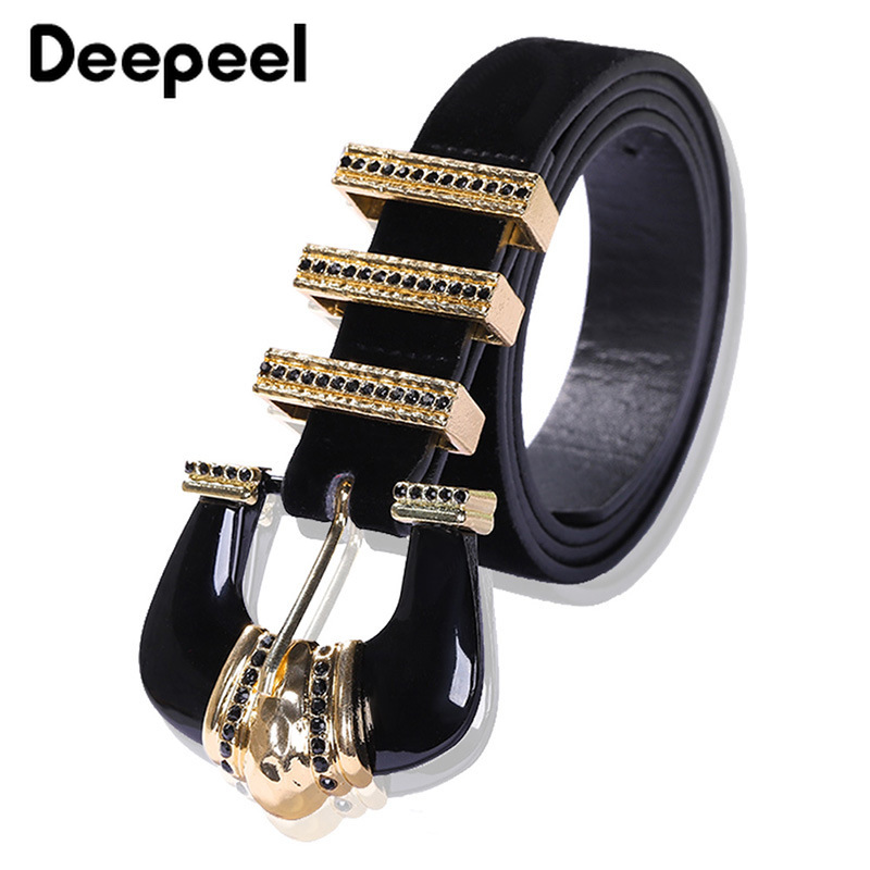 Deepeel 1pc 6.6*110cm Women Metal Sparkly Black Cummerbunds Big Alloy Diamond Buckle Decorative Adjustable Belts For Jeans CB642