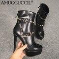2020 Nieuwe Plus Big Size 34-52 Zwart Zip Gesp Klinknagels Mode Hoge Hak Platform Vrouwtjes Dames Mid Kalf herfst Vrouwen Laarzen X1865