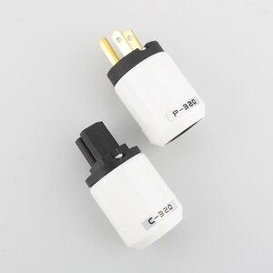 "Image 5 - זוג 24 k מצופה זהב בארה""ב מתח AC Plug + חברת חשמל תקע Famale DIY חשמל כבל HIFI"