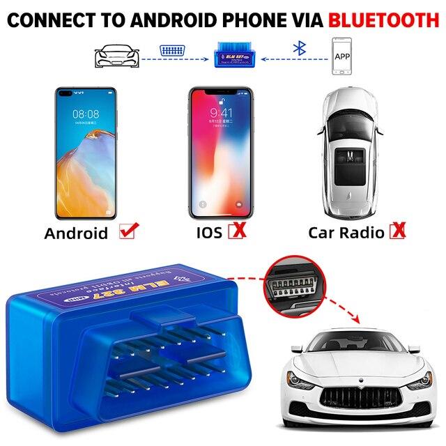 OBD2 Super Mini ELM327 V1.5 PIC18F25K80 Chip elm 327 Bluetooth V2.1 code reader Auto Scanner Adapter Diagnostic Tool for Android 5