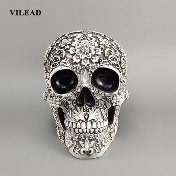 VILEAD 20 см резной череп из смолы ремесло белый череп голова Хэллоуин вечерние украшения Скульптура черепа орнамент украшение дома исследован...