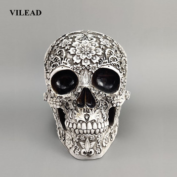 VILEAD 20cm Carved Skull Resin Craft White Skull Head Halloween Party Decor Skull Sculpture Ornament Home Decoration Research фото