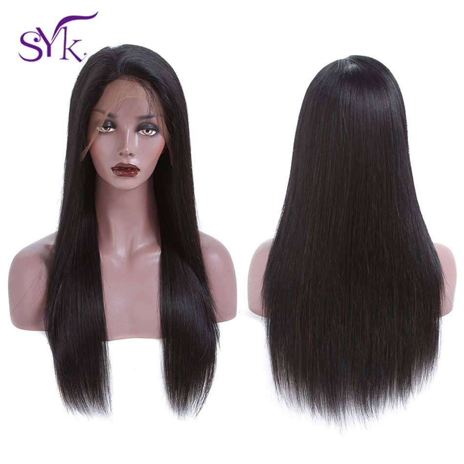 "SYK HAIR Lace Front Human Hair Wigs Brazilian Straight Human Hair Wigs 150% Density 10""-22"" Remy Hair 13*4  Lace Front Wig"