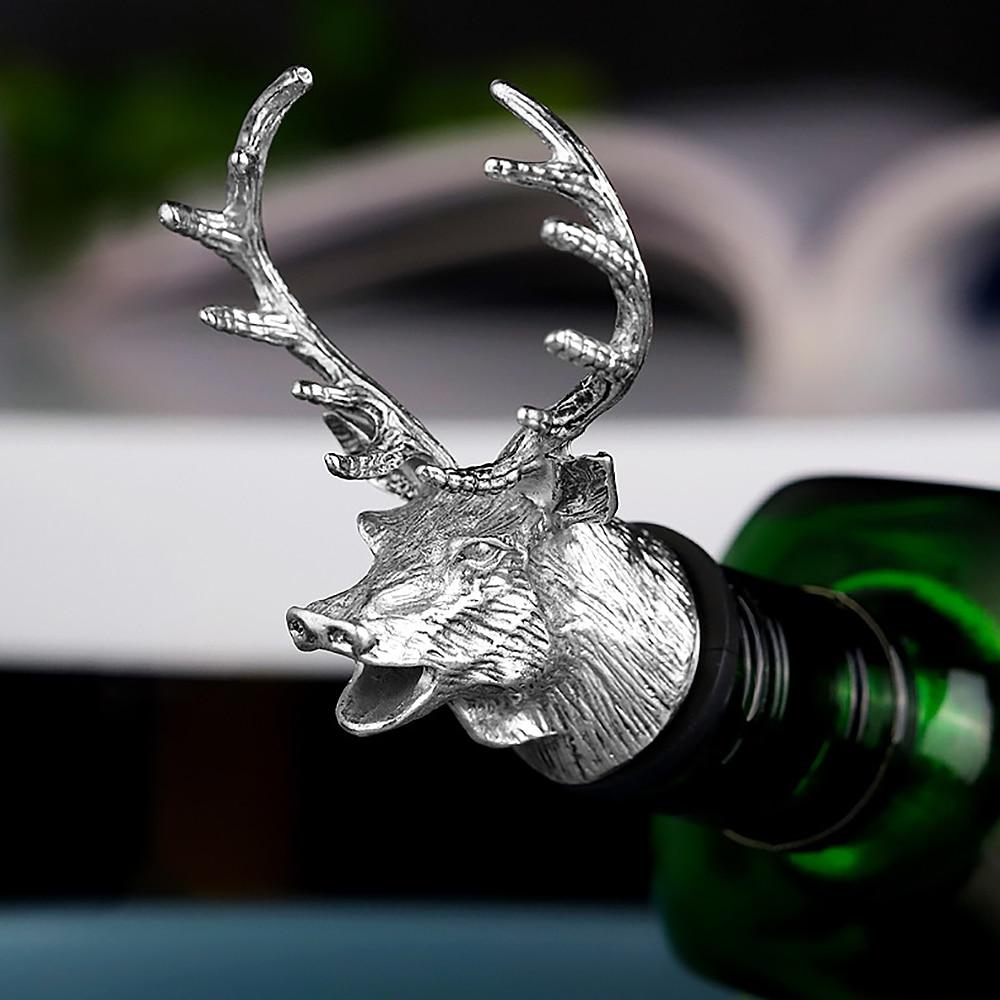 Animal head red wine plug. Metal Deer Stag Head Wine Liquor Bottle Pourer
