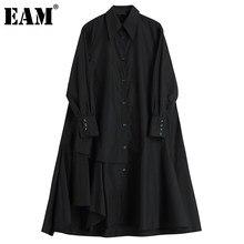 [EAM] femmes noir dos longue Irreuglar grande taille robe nouveau revers manches longues coupe ample mode printemps automne 2021 1DC860