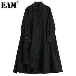 [EAM] Women Black Back Long Irreuglar Big Size  Dress New Lapel Long Sleeve Loose Fit Fashion Spring Autumn 2021 1DC860