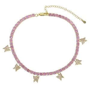Image 4 - Pembe pinky kız kadınlar takı 5A cz tenis zinciri kelebek damla çekici gerdanlık kolye kaya hip hop takı