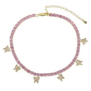 Image 4 - Roze Pinky Girl Vrouwen Sieraden 5A Cz Tennis Chain Vlinder Drop Charm Choker Ketting Rock Hip Hop Sieraden