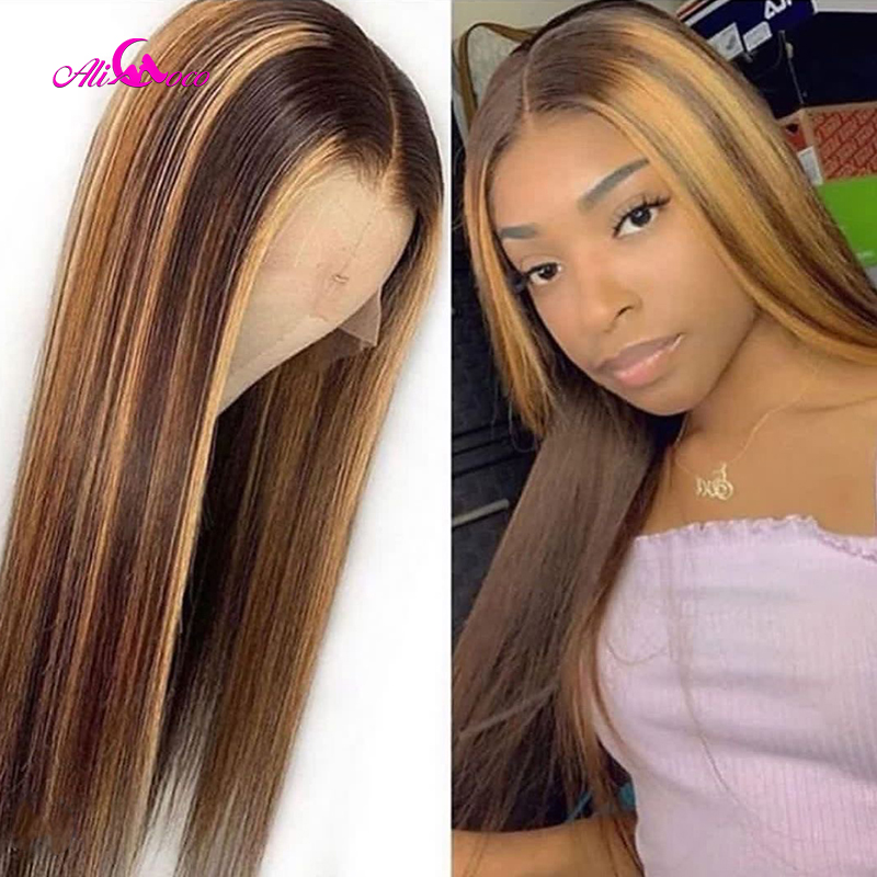 Ali Coco #4/27 Highlight Colored Human Hair Wigs Pre Plucked Lace Front Human Hair Wigs Ombre Remy Frontal Wig For Black Women