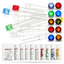 100 pçs 2x3x4 retangular led emissor de luz lâmpada diodo branco vermelho verde azul amarelo laranja claro difuso cor micro diy indicador 3v