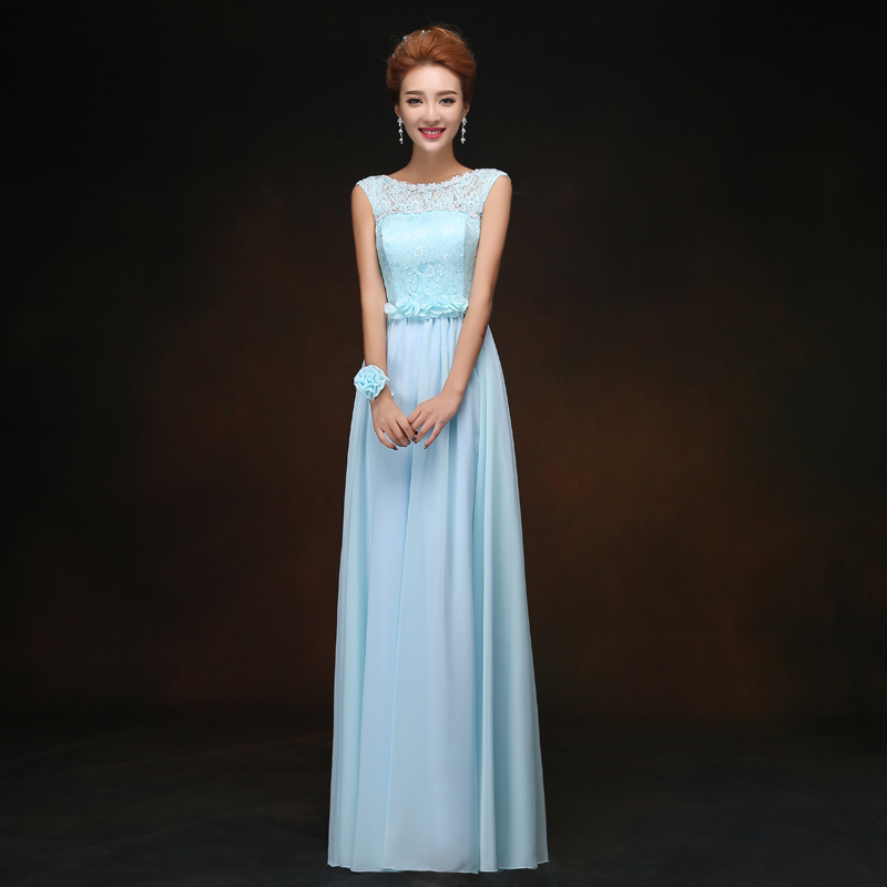 Long Dress For Wedding Party For Woman Chiffon Bridesmaids Dresses Elegant O-Neck A-Line Vestidos Mujer Sexy Prom Dress Sister