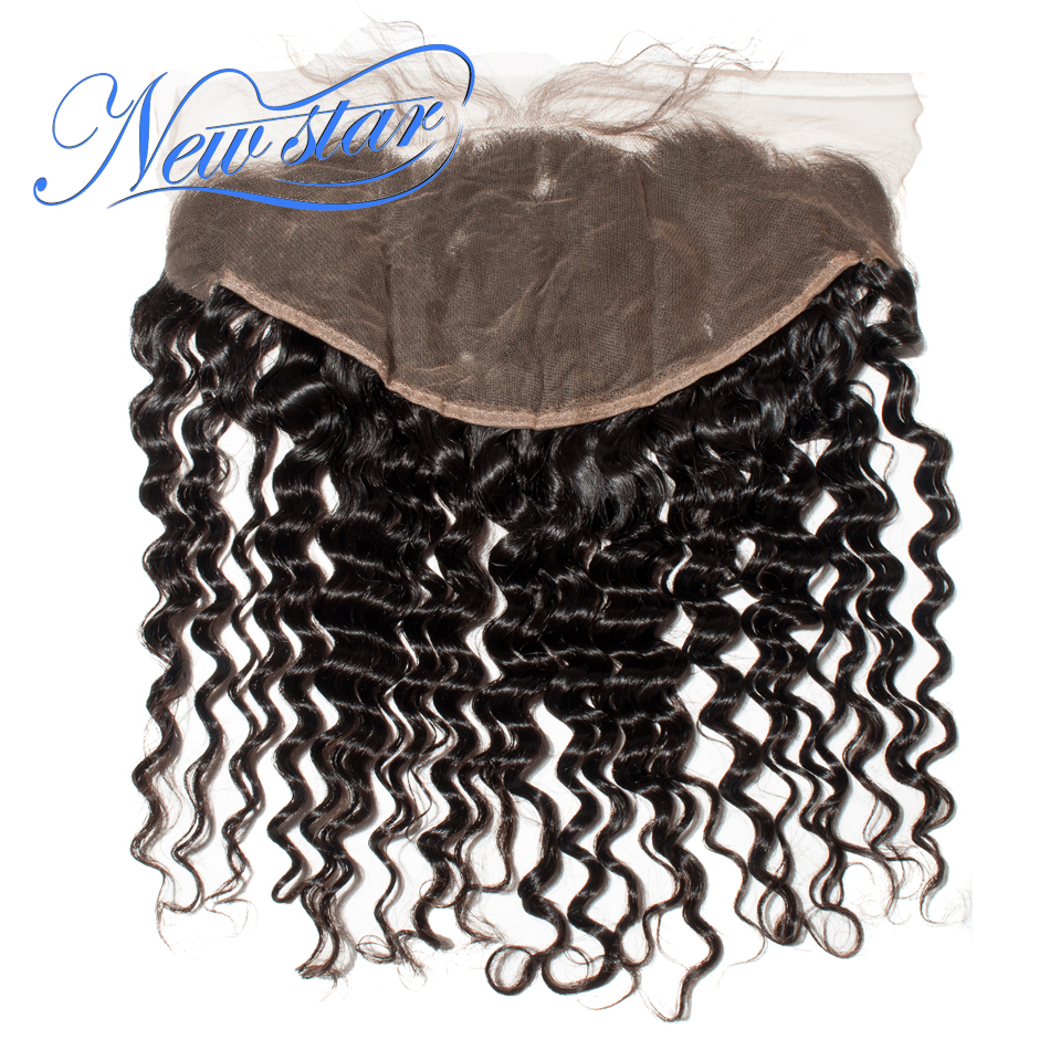 Ear-Closures Lace-Frontal Deep-Wave Bleached 13x6 Human-Hair Virgin Pre-Plucked Brazilian