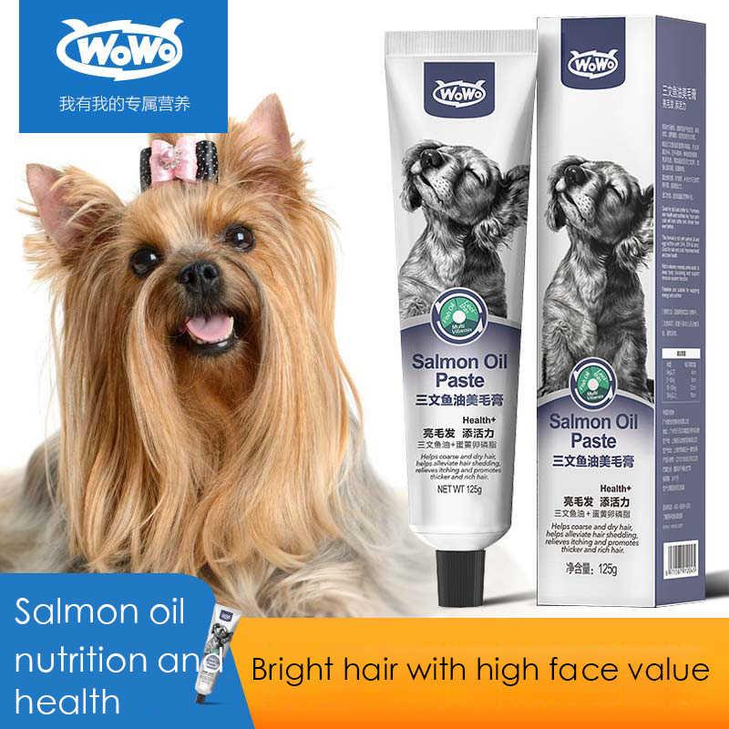 WOWO pies łosoś olej kosmetyczny krem upiększający lecytyna wodorosty w proszku jasne włosy pielęgnacja skóry miś pluszowy golden retriever produkty zdrowotne